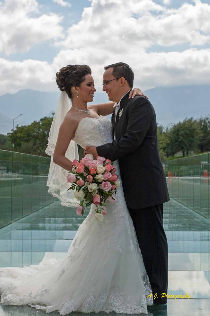 Bride and Groom on glass bridge