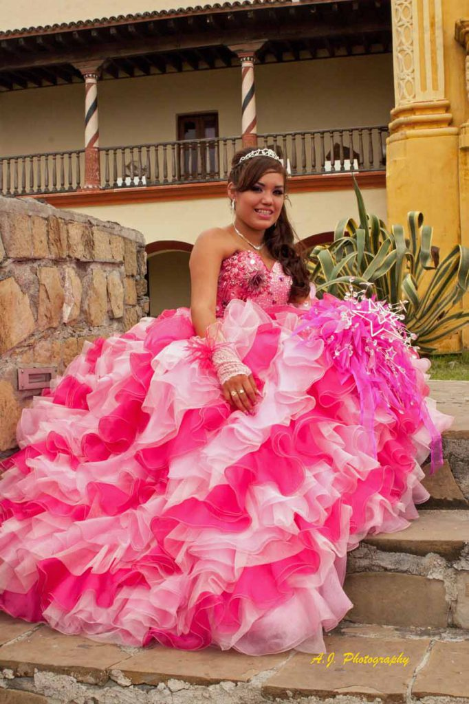 Beautiful Quinceañera in her dress
