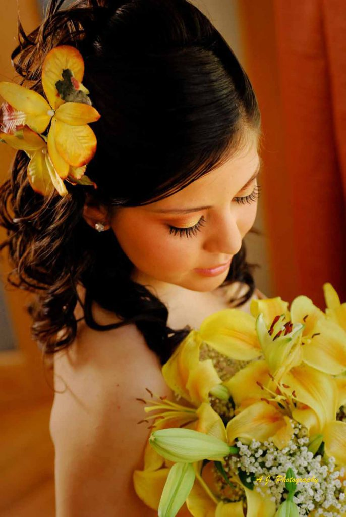 Quinceañera girl with flowers