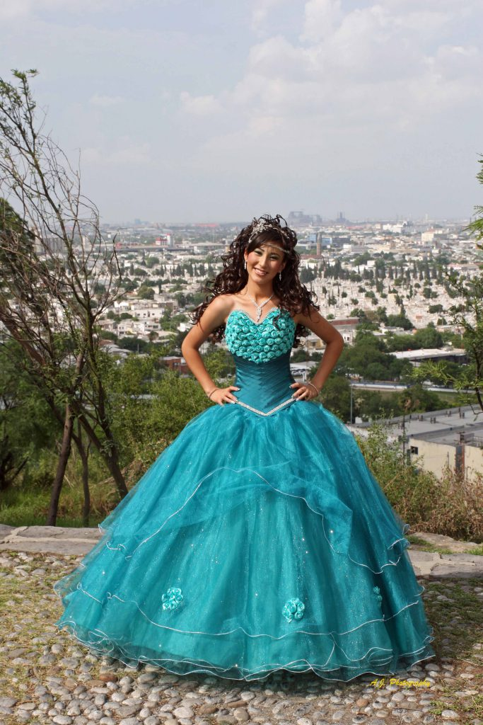 Young Hispanic girl celebrating her Quinceañera